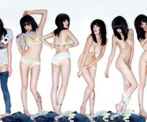 black hair, naked, and girl image
