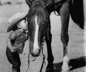 horse, child, and kiss image