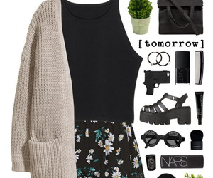 black, clothes, and floral image