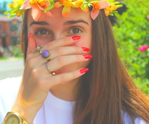 accessories, brunette, and flower crown image