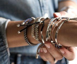 bracelets, silver, and beautiful image