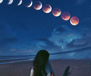 moon, girl, and beach image