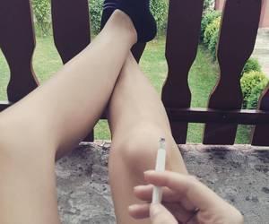 cigarette, girl, and socks image