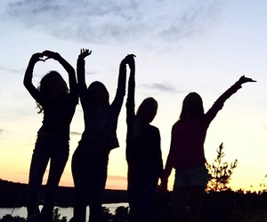 squad, sunset, and love image