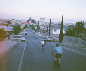 boy, street, and bike image