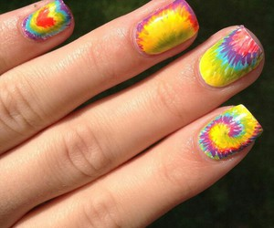 nails, tie dye, and tie dye nails image