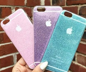apple, glitter, and iphone image