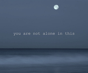 alone, moon, and ocean image