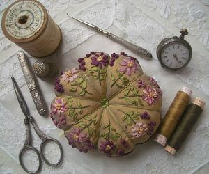 pin cushion, sewing, and threads image