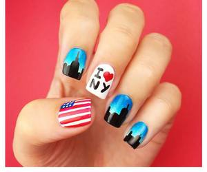 new york, nails, and city image