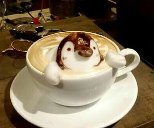 cappuccino, coffee, and penguin image