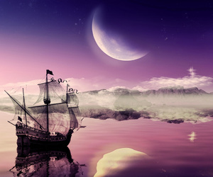 moon, ship, and Dream image