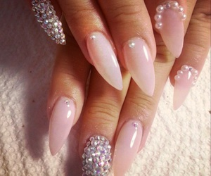 clear, glitter, and nails image