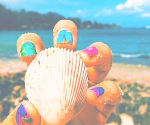 summer, nails, and beach image