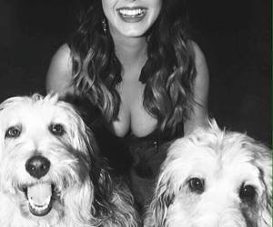 beautiful girl, black white, and dogs image