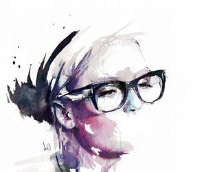 drawing, girl, and glasses image
