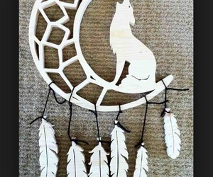 dreamcatcher, feathers, and wolf image
