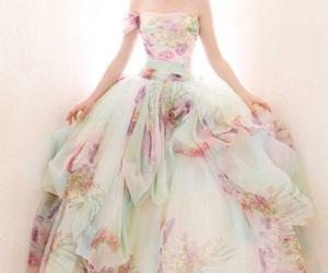 dress, flowers, and wedding image
