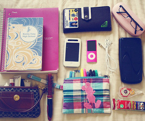 ipod, notebook, and school image