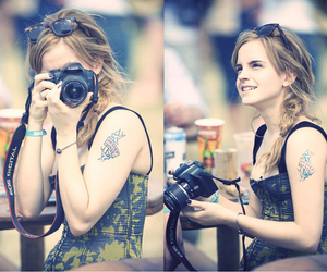 emma watson, camera, and tattoo image