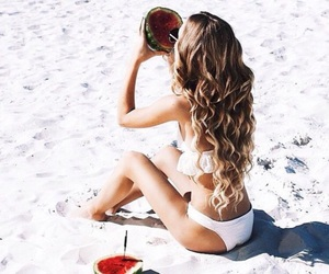 beach, curly, and hair image