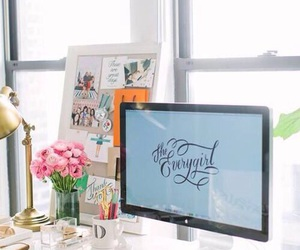 flowers, office, and room image