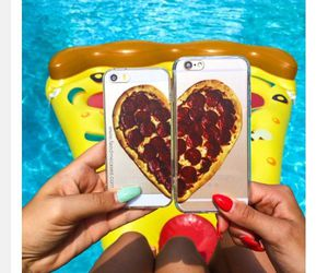 best friends, food, and pizza image