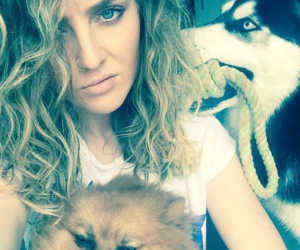 little mix, perrie edwards, and dog image