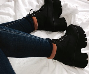 bed room, black shoes, and boots image