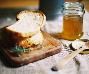 food, honey, and bread image