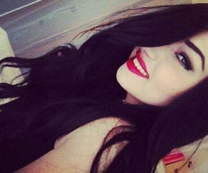 black hair, red lips, and mac image