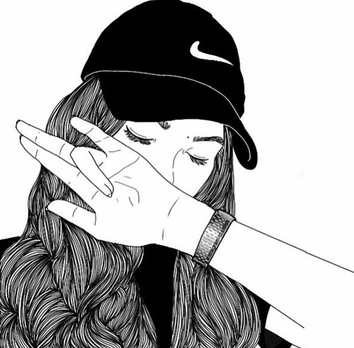 nike girl black white swag dessin on We Heart It