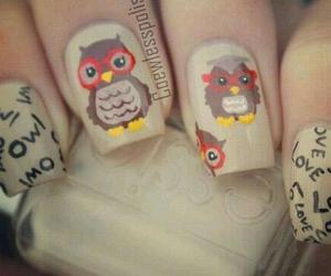 owl, nails, and nail art image