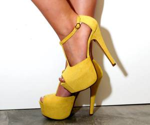 heels, shoes, and yellow image