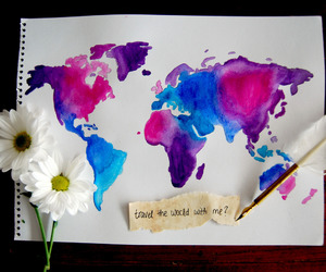 world, travel, and flowers image