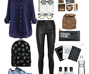 books, leather pants, and style image