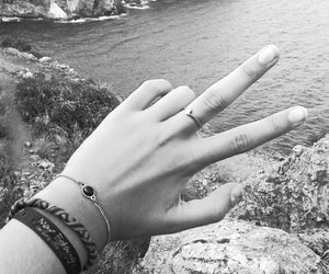 black and white, hand, and natural image