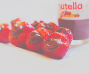 candy, nutella, and strawberry image