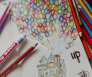 ballons, colours, and drawing image