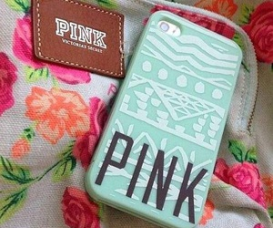 pink, iphone, and flowers image