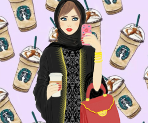 hijab, starbucks, and illustration image