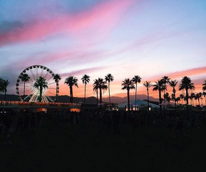 coachella, sunset, and sky image