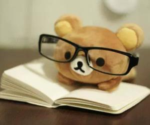 cute, book, and bear image