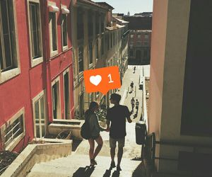 adorable, city, and couple image