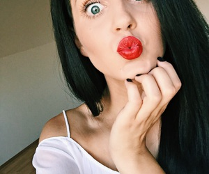 blue eyes, kisses, and red lips image