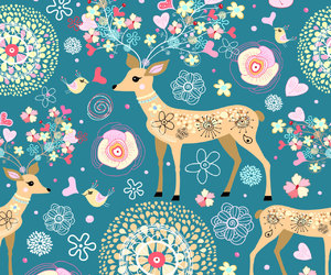 background, deer, and flowers image