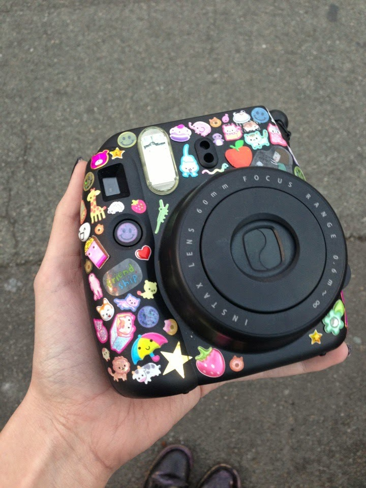 camera, sticker, and polaroid image