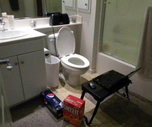 bathroom, cereals, and computer image