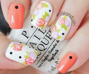 black, floral, and nails image