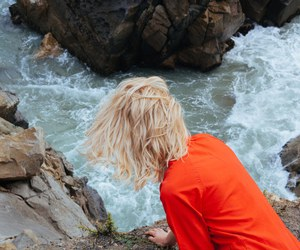 girl, blonde, and sea image